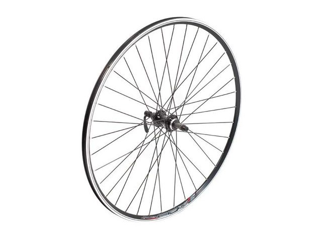Tru-Build 700C Rear Wheel, Mach1 CFX Black Rim, Screw-on Freewheel Fitting click to zoom image